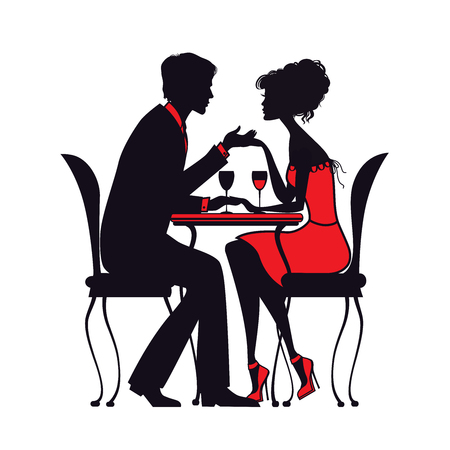 heard: couple in love sitting at a table in a cafe.detailed silhouette drawing. vector illustration. good for your design!