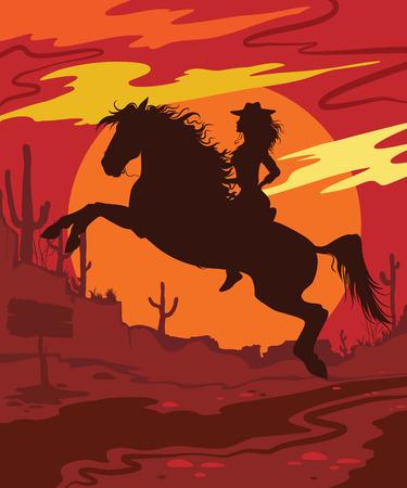 ilustración vectorial salvaje oeste con la muchacha en el caballo
