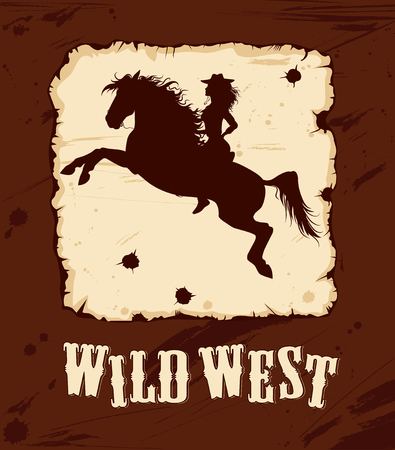 horseback: old wild west background with silhouette of cowgirl on horseback Illustration