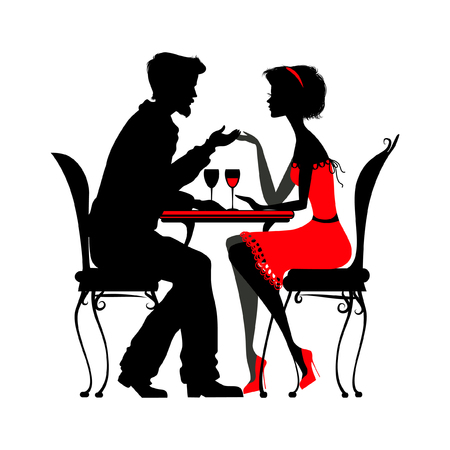 young couple in love sitting  in a cafe. silhouette detailed vector illustration. good for your design!