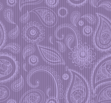 stripped background: mehndi lilac seamless pattern on stripped background, male fashion. vector illustration. good for your design! Illustration