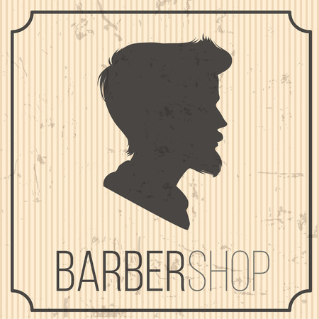 stripped: barbershop   vintage. grey on beige stripped background. vector illustration. part of collection. good for your design