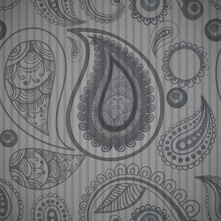 stripped background: mehndi grey simple seamless pattern on stripped background, male fashion. vector illustration. good for your design!
