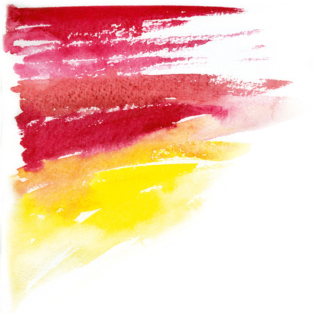 red and yellow simple watercolor raster background hand drawn illustration