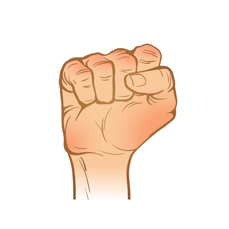 clenched fist: hand  line sketch. one hand. clenched fist gesture. painted arm. vector illustration. part of collection, good for your design! Illustration