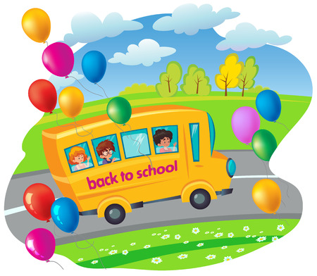 school bus with children moving in the road. flying balloons. vector illustration drawing in cartoon style. good for your design! Illustration