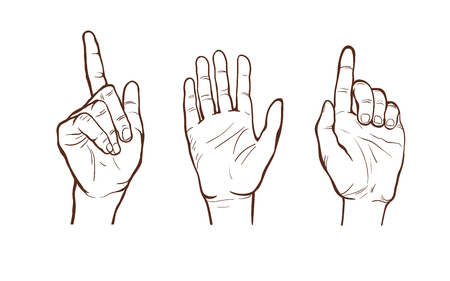 hand  line sketches. different gestures. a welcome gesture. stopping gesture. open palm. vector illustration. part of collection, good for your design!