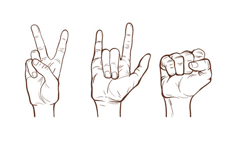 clenched fist: hand  line sketches. different gestures. clenched fist. rock and victory symbols. vector illustration. part of collection, good for your design!