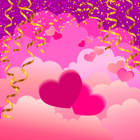 dust cloud: two hearts on pink background with clouds and golden serpentine ribbons and dust, vector illustration. greetings Valentines day card