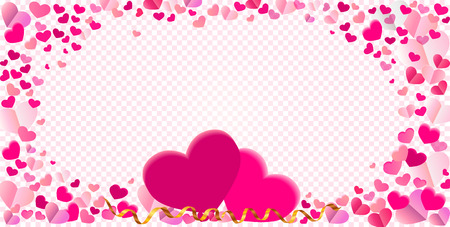 serpentines: Heart shape different pink confetti vector frame with two big hearts and serpentine ribbons isolated on transparent checkered