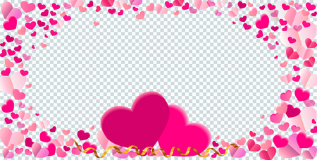 Heart shape different pink confetti vector frame with two big hearts isolated on transparent checkered grey background Illustration