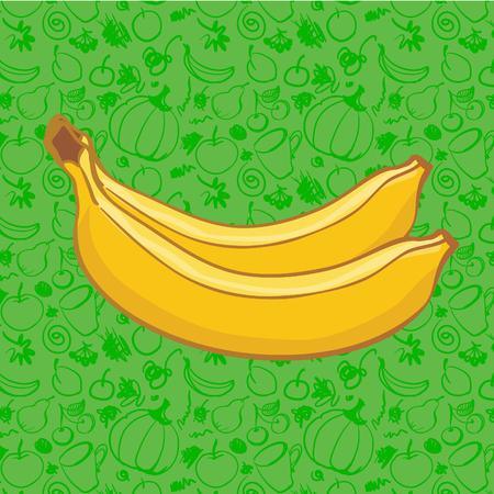 pareja comiendo: Dos frutas de plátano sobre fondo de color. Ilustración vectorial, parte de la colección de alimentos