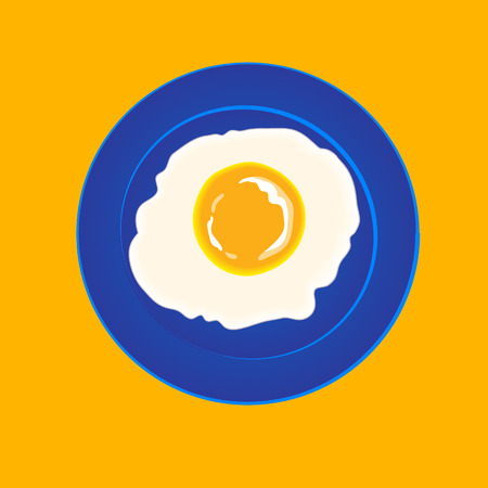 one fried egg on a blue plate. vector illustration, part of food collection