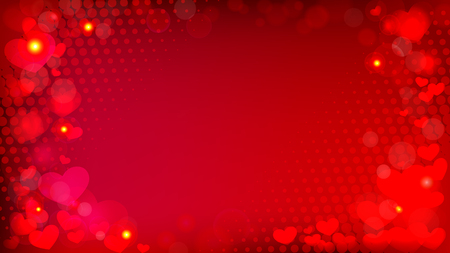 abstract red background with bokeh effect hearts and halftone vector horizontal Banner, good for your design Illustration