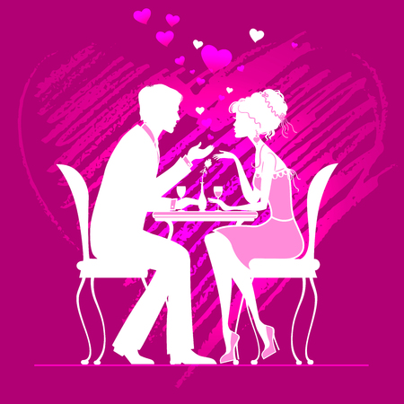 couple in love  in a cafe on dark pink background with hand drawn heart. vector illustration