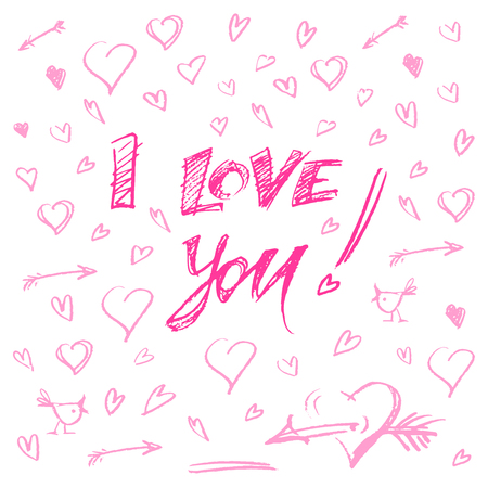 hand drawn different pink hearts and letters i love you vector illustration. big set Illustration