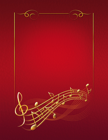 red musical background with gold frame notes and treble clef raster illustration good for your unigue design Фото со стока