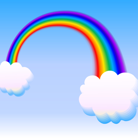 rainbow with two clouds on sky background. vector illustration