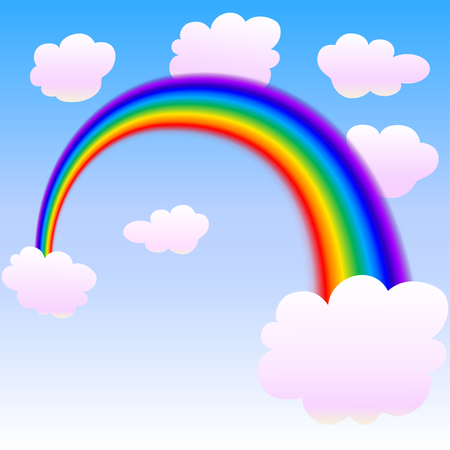 rainbow with clouds. vector illustration Illustration