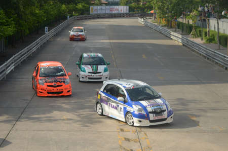 BANGKOK, THAILAND - MAY 18-20, 2012 : Toyota motors presented at National Stadium in Toyota Vios one make race 2012 on MAY 18-20, 2012 in Bangkok, Thailand.