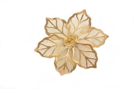 golden   flower   with   leaf  shape  on white background