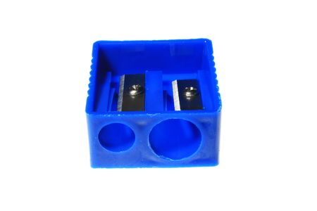 blue  colour  sharpener  for   pencils     with   white     background