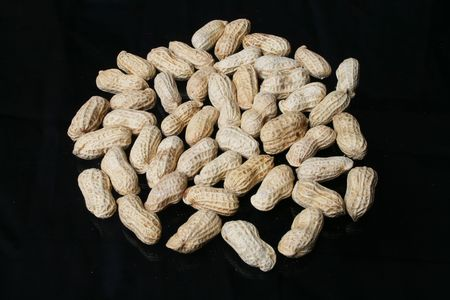 many  peanut  are    decoration   on  black   background