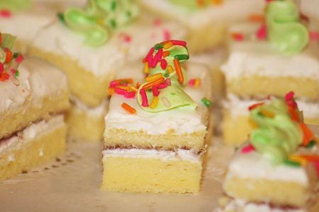 delicious    cake     with  colourful  sweet  cream  on  top   Stock Photo