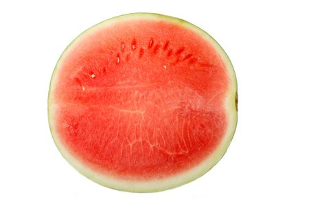 half  of   the   watermelon    on  white background