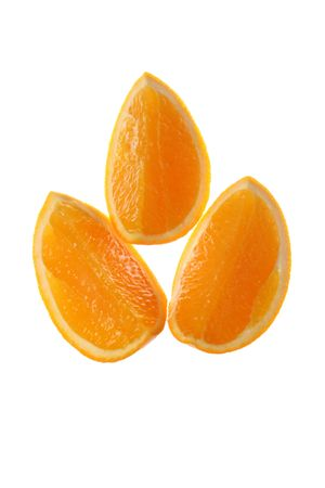 three  Appetizing   slices   of    orange     on   white  background