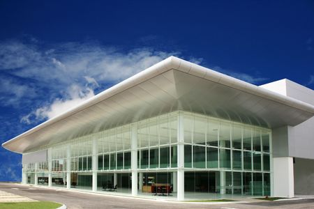 modern  business   buildings   in  deep blue  sky Stock Photo