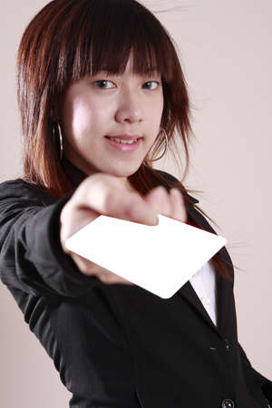 asian model   hold    a    white   blank   card photo