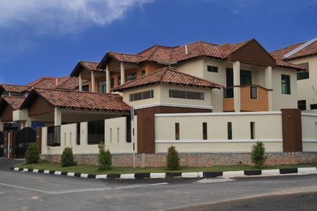 modern   bungalow   in  deep blue  sky