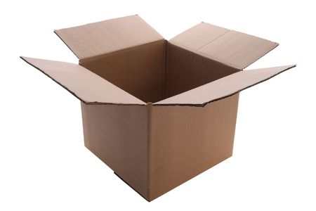An open  cardboard  box    isolated with clipping path