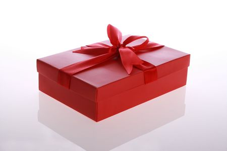 red   color      gift     box  with  beautiful  ribbon     photo