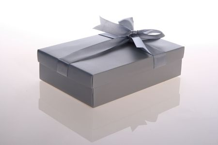 silver   color      gift     box  with  beautiful  ribbon