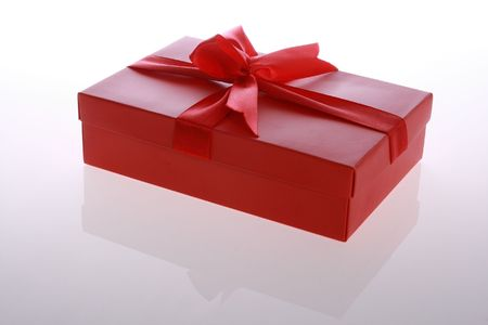 red   color      gift     box  with  beautiful  ribbon