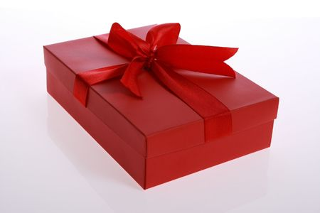 red   color      gift     box  with  beautiful  ribbon Stock Photo - 3131592