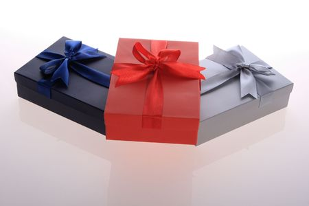 red ,   blue  ,  silver   color      gift     box  with  beautiful  ribbon