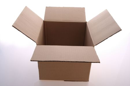 brown  color   cardboard  box   on   white  background     Stock Photo