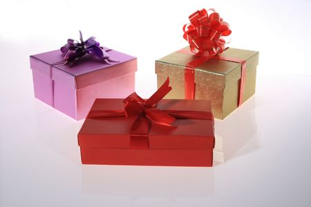 red , pink , gold    color      gift     box  with  beautiful  ribbon     Stock Photo