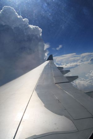 wing of a plane  view from an airplane Stock Photo