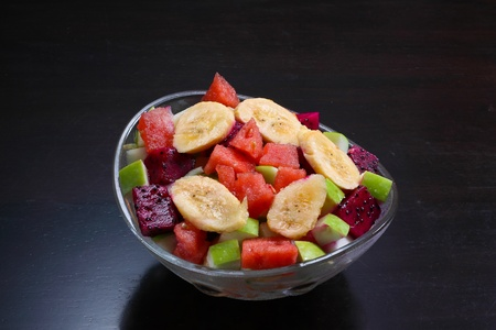 appetizer  Fresh fruits salad glass  bowl Stock Photo