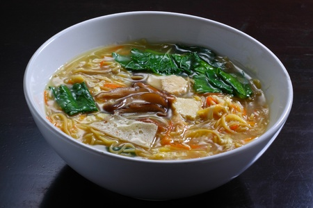 asian delicious  food noodle  with  soup