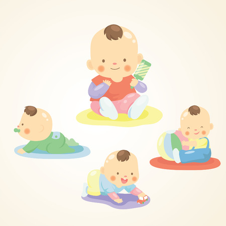 baby playing toy: cute baby playing with toy Illustration