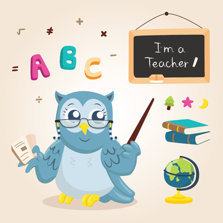 cartoon math: owl teacher teach student Illustration