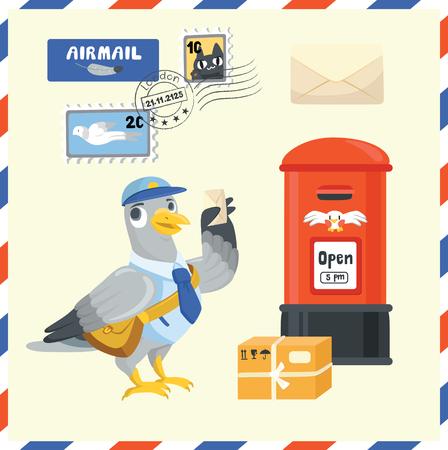 Pigeon Postman delivery mail Stock Illustratie