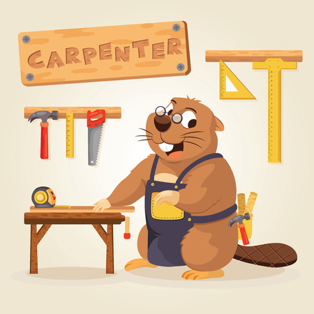 Beaver Carpenter with wood tool Ilustrace