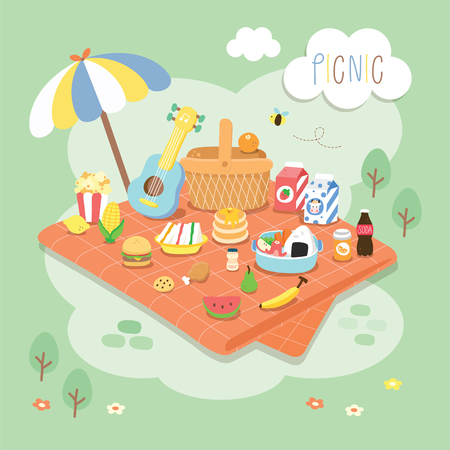 canastas de frutas: picnic en el jardín Vectores