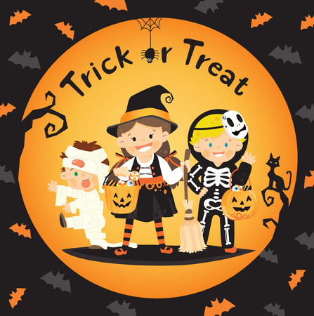 trick: children trick or treat in halloween